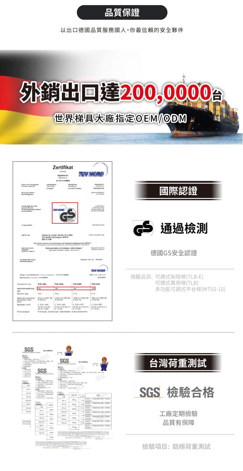品質保證,外銷出口達2000000台,產品經德國GS認證,台灣荷重測試報告,SGS檢驗合格。