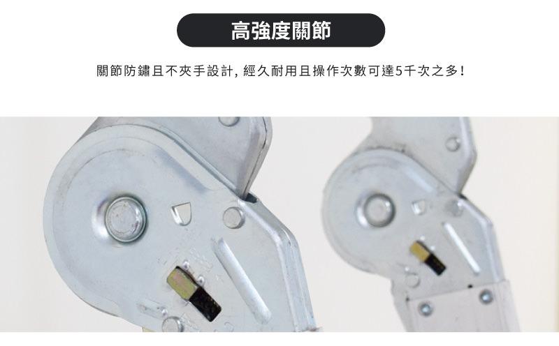 關節防鏽且不夾手設計,經久耐用且操作次數達5000次之多。