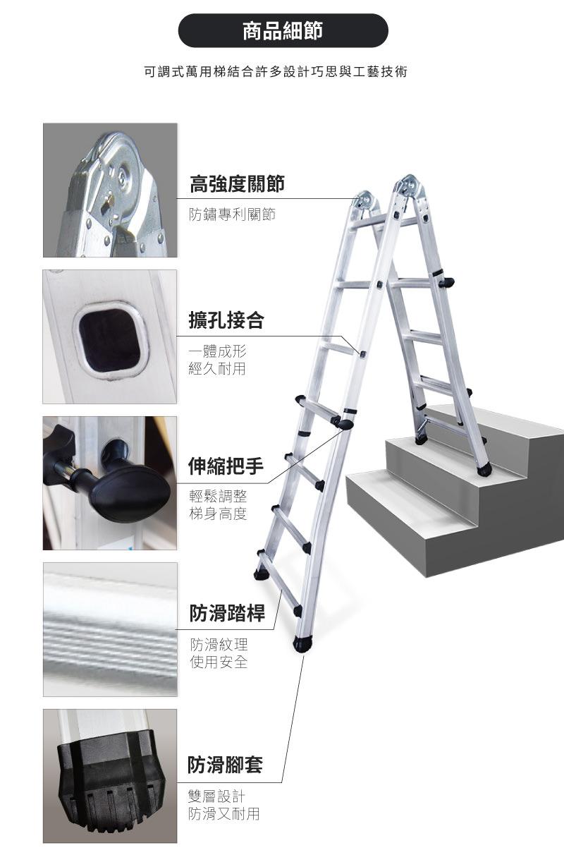 可調式萬用梯,為伸縮式鋁梯,可以在樓梯間使用。主要特點有:高強度關節;擴孔接合;伸縮把手;防滑踏桿;防滑腳套