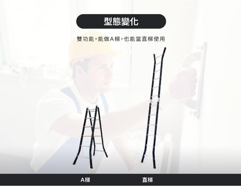 雙功能尊爵黑鋁合金關節梯,可做A梯及直梯使用