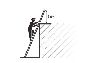 直梯,支撐點在屋頂、屋平面,最大觸碰高度說明圖