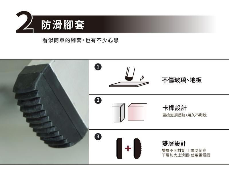 梯老闆ˋ防滑腳套三'項特點。不傷玻璃、地板;卡榫設計,更換無須工具,用久不鬆脫;雙層設計,雙層不同材質,上層防穿刺,下層加大止滑面,使用更穩固。
