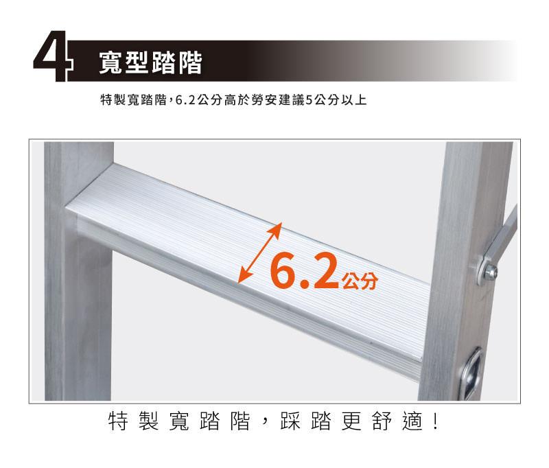 梯老闆寬型踏階,為自行研發一體成形之寬踏階,擴孔一體成形。表面有防滑紋路。寬度大於勞安建議5公分以上