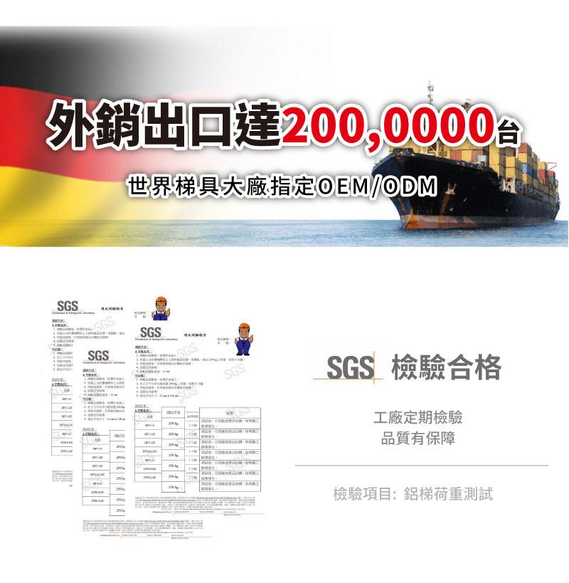外銷出口達200萬,品質掛保證。SGS檢驗合格。