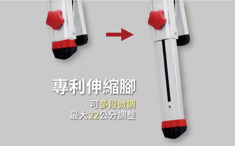 梯老闆專利伸縮腳,可多段微調,最大22公分